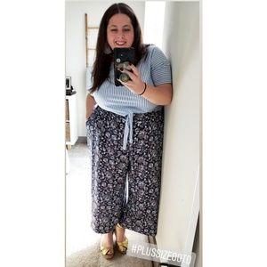 Floral High Waist Wide Leg Cropped pant 3X